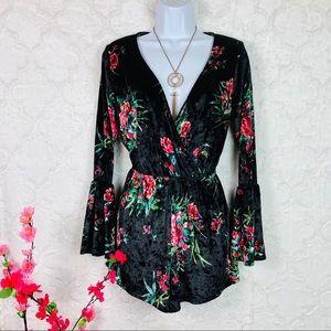 NWOT Sadie & Sage Black Velvet Floral Romper